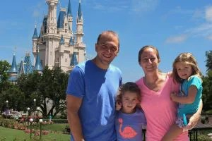 Brad Barrett and his family at Disney World