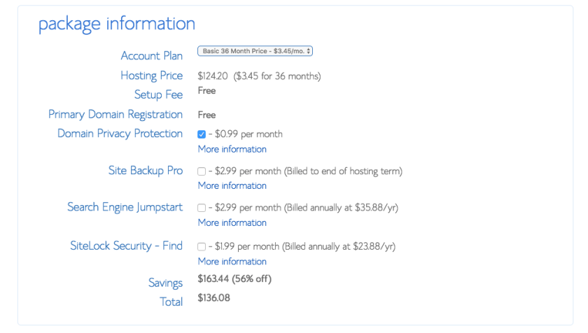 Bluehost Hosting Package Info - Marriage, Kids and Money
