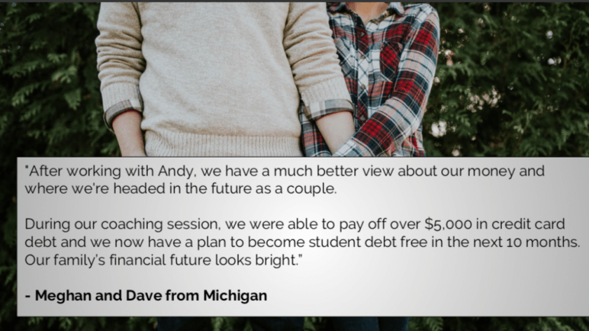 Personal Finance Coaching, Testimonial, Andy Hill