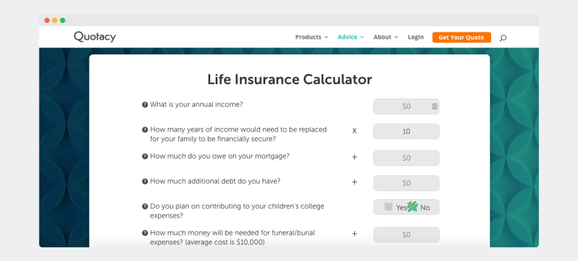 Quotacy Life Insurance Calculator