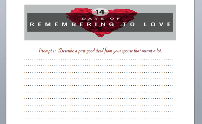 14 days of love printout screenshot