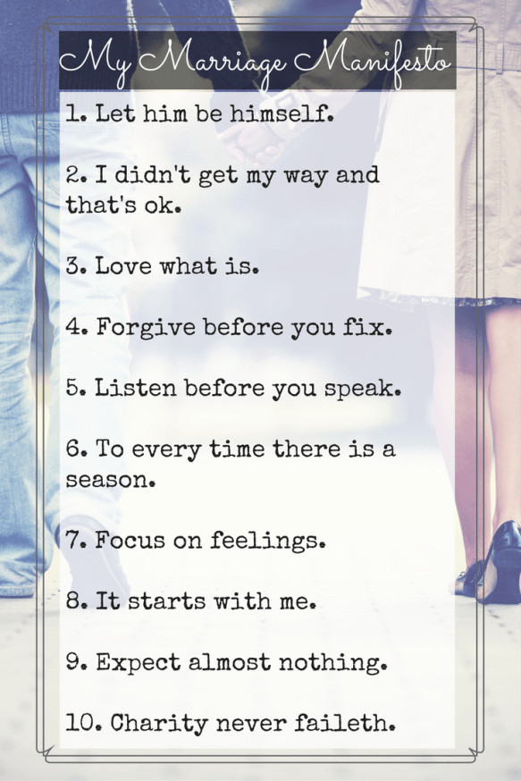This is my marriage manifesto- a set of 10 guidelines and aspirations I've written to remind myself to be the wife I want to be. Click through to read more.