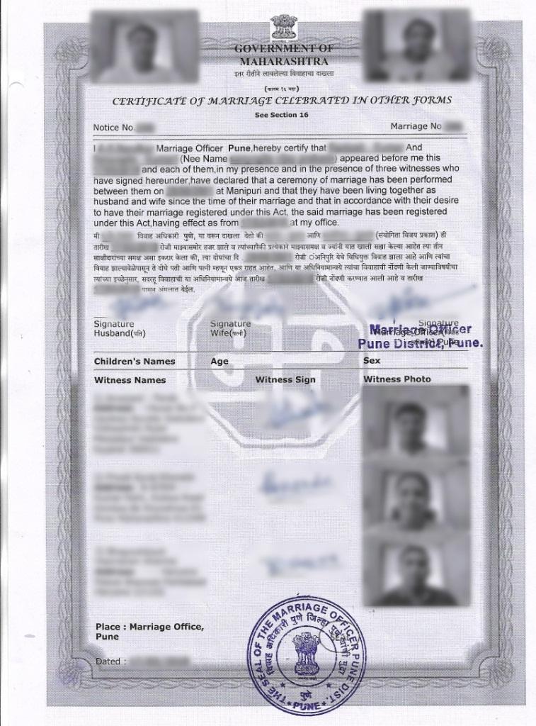 Govt Marriage Registration Certficate  Pune Pimpri Chinchwad