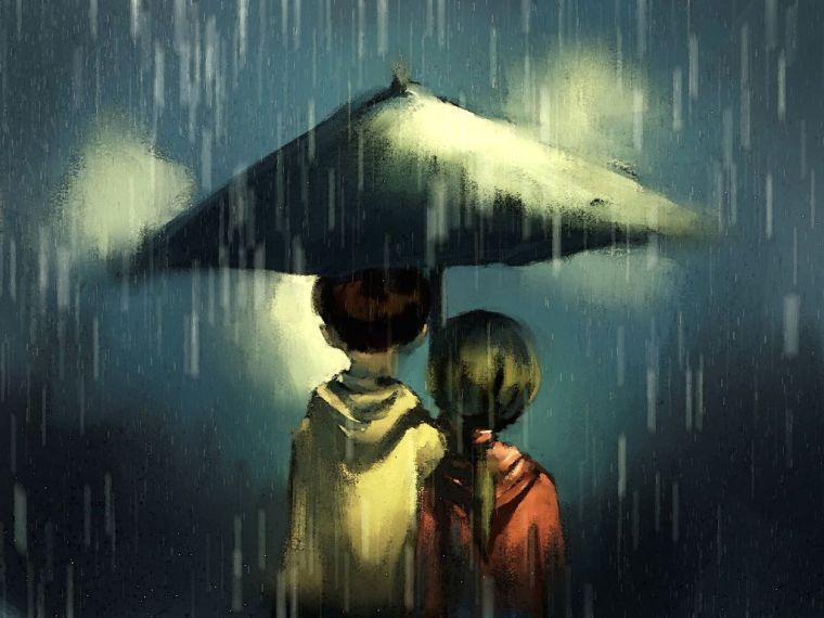 Couple walking in rainy