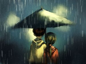 Couple walking in rainy