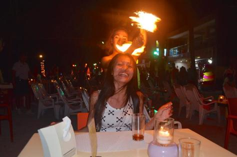 Fire dancer and Janet
