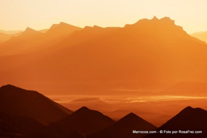 Sunrise over the Draa Valley in Morocco.