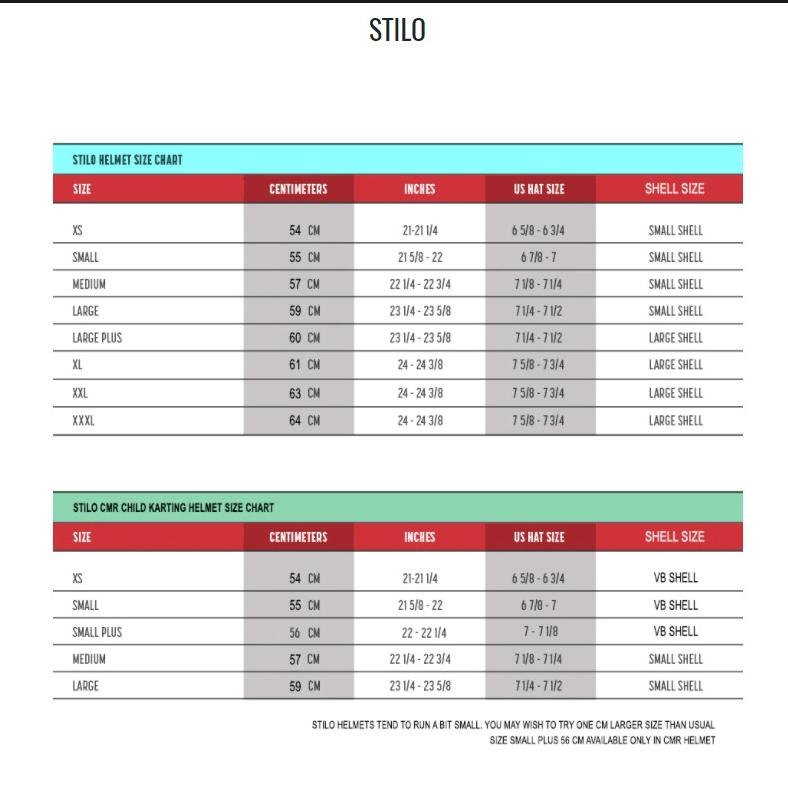 Stilo Helmet Size Chart