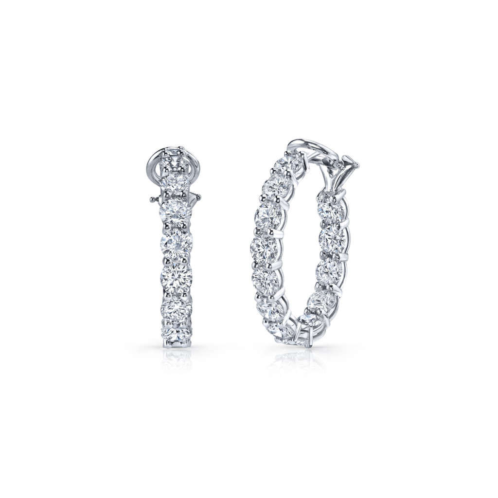 A. Link 5.60 Carat Inside-Out Diamond Hoop Earrings