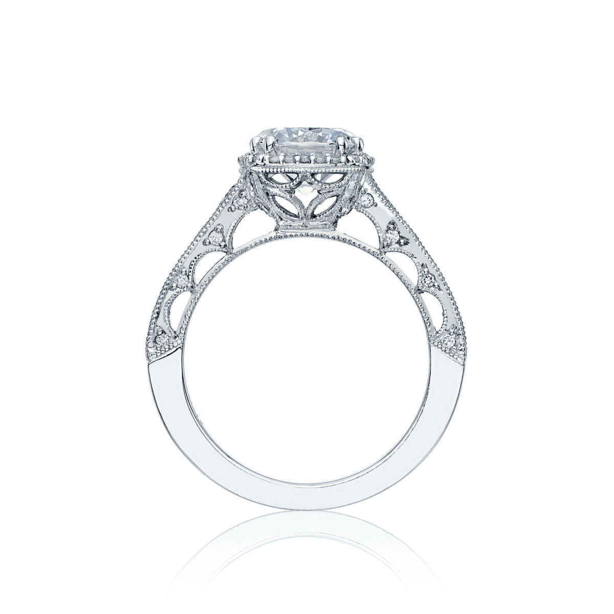 Tacori Reverse Crescent Round Brilliant Cut Diamond Halo