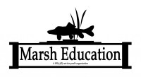 Marsh Education logo of razorback sucker fish silhouette inside school house icon with some grass reeds sticking near fish
