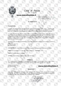 ORDINANZA SINDACALE N.57 DEL 18