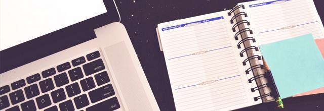 organizer organizacja kalendarz notatnik laptop