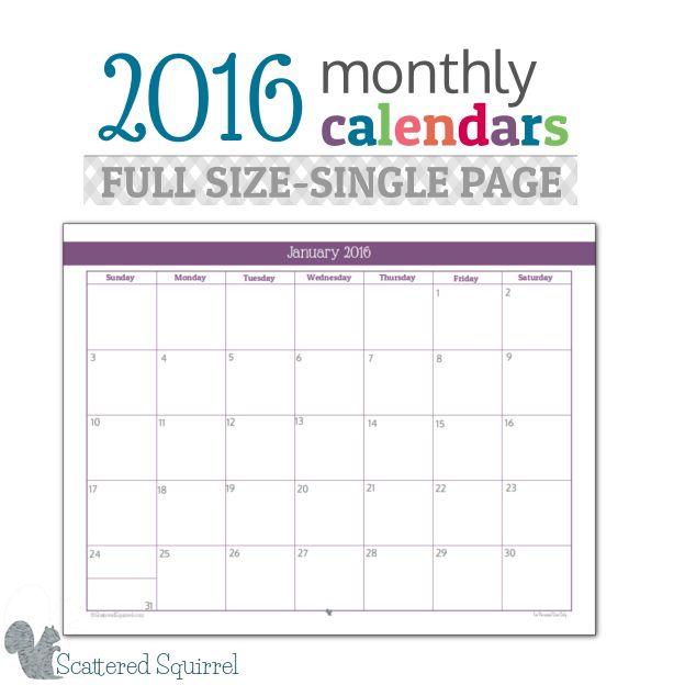Kalendarz na 2016 rok od http://scatteredsquirrel.com