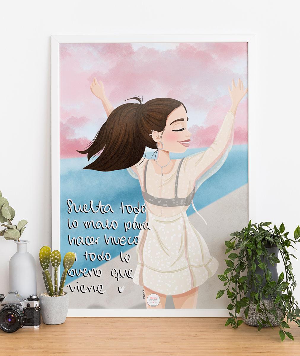 lamina decorativa mujer levantando brazos