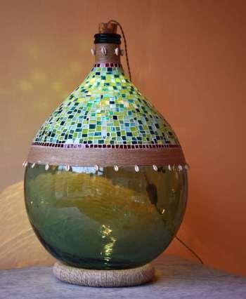 Lampada a damigiana con mosaico