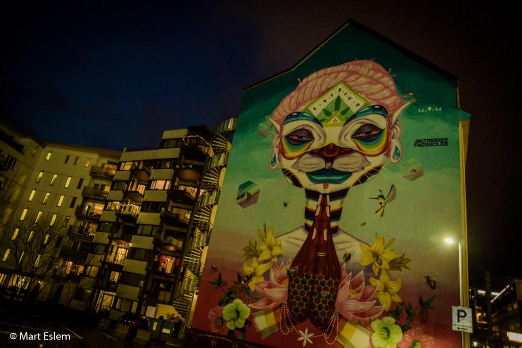 Nástěnná malba po setmění v Bergenu (Mart Eslem)
