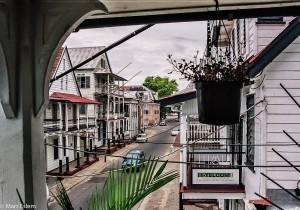 Výhled z terasy Albergo Alberga v Paramaribu (Mart Eslem)