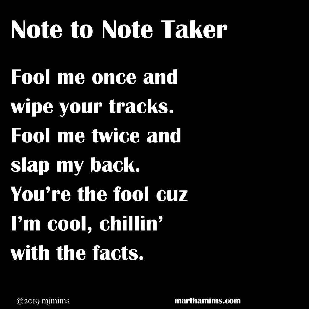 Fool me once and wipe your tracks. Fool me twice and slap my back. You're the fool cuz I'm cool, chillin' with the facts.