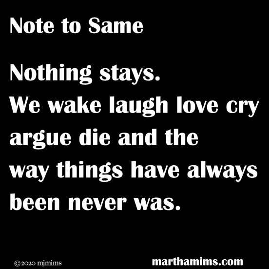 Nothing stays. We wake laugh love cry argue die and the way things have always been never was.