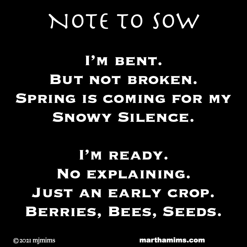 Note to Sow  I'm bent.  But not broken. Spring is coming for my Snowy Silence.  I'm ready.  No explaining. Just an early crop. Berries, Bees, Seeds.Note to Sow  I'm bent.  But not broken. Spring is coming for my Snowy Silence.  I'm ready.  No explaining. Just an early crop. Berries, Bees, Seeds.