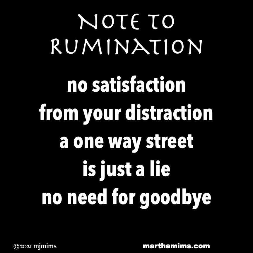 Note to Rumination  no satisfaction from your distraction a one way street is just a lie no need for goodbye