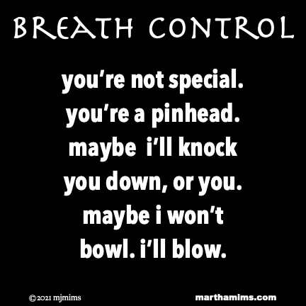 Breath Control  you're not special. you're a pinhead. maybe  i'll knock  you down, or you. maybe i won't  bowl. i'll blow.