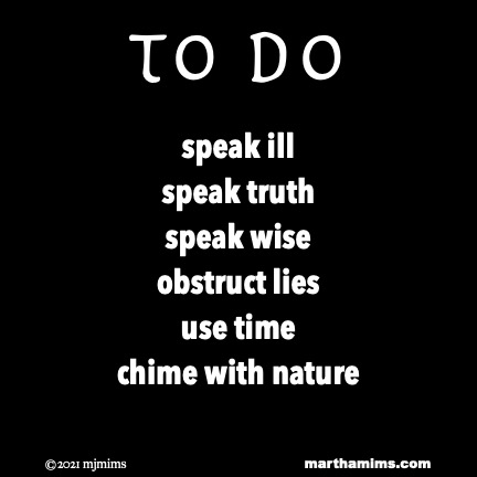 to do  speak ill speak truth speak wise obstruct lies use time chime with nature