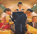 Vintage airline ad flight attendant air hostess color