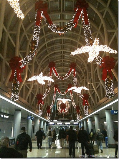 Christmas decorations at Chicago O'Hare airport