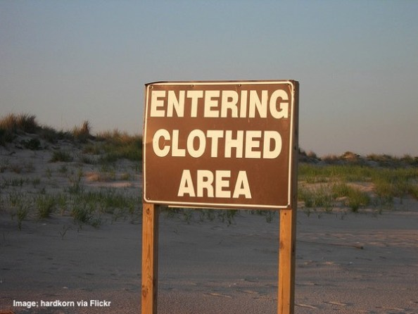 Entering clothed area sign