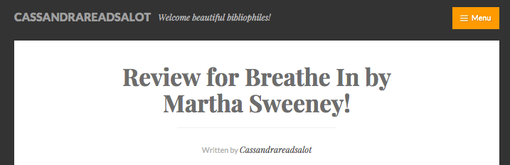 Breathe In Got It's First Book Blogger Review!