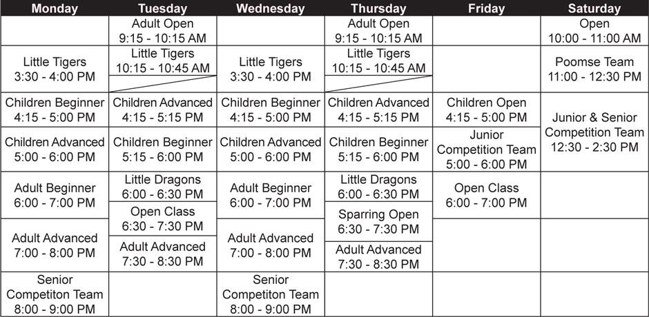 Calgary Taekwondo Academy martial arts schedule