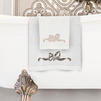coppia asciugamani tombolo fiocco ecrù puro lino