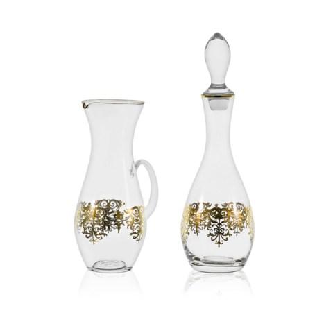 Brocca e Bottiglia Classico con elegante Decoro Antico Oro Giulia