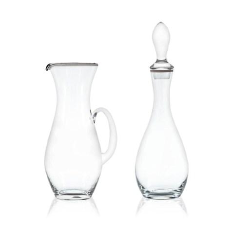 Brocca e Bottiglia dal Design Lineare con Decoro Filo Platino