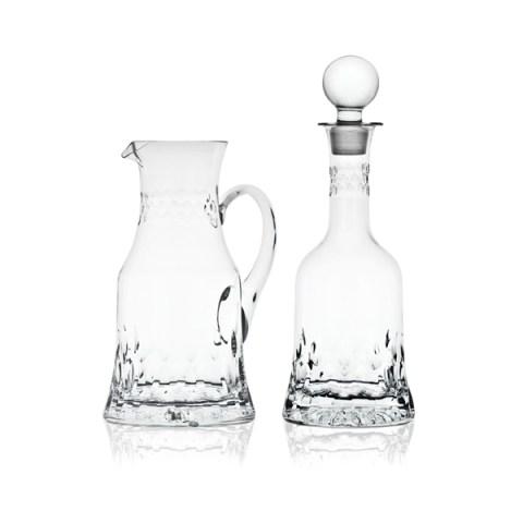 Brocca e Bottiglia dal Design Moderno in Cristallo con Incisione realizzata a mano Linea