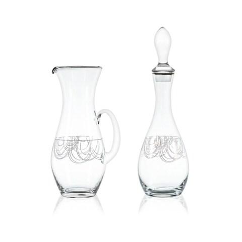 Brocca e Bottiglia Completo Calici Stile Moderno con Decoro Platino Boston