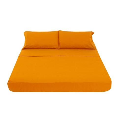 Coppia di Lenzuola Matrimoniale con federe in puro cotone Tinta Unita Arancio