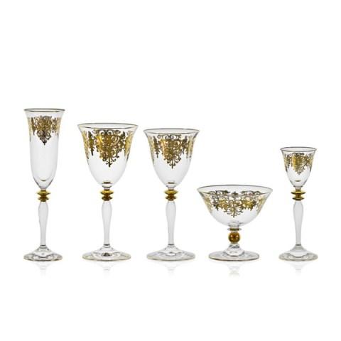 Servizio di Bicchieri Completo Calici Classico con elegante Decoro Antico Oro Giulia