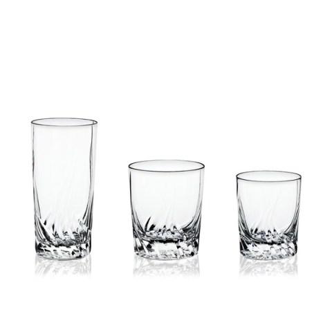 Servizio di Bicchieri modello Moderno in fine Cristallo con Incisione realizzata a mano Onda