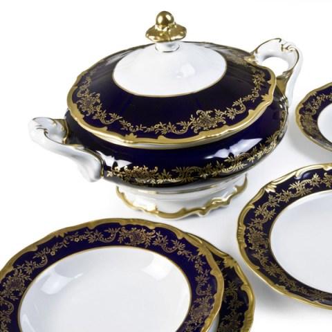 Servizio piatti fine porcellana tedesca decorato a mano oro e cobalto - Caterina