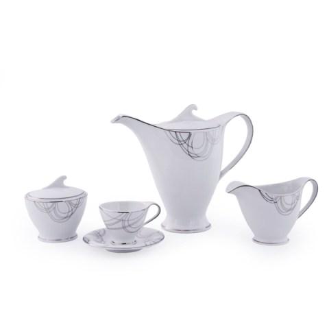 Servizio the Caffè moderno ed elegante in fine porcellana con decoro Filo Platino Dallas