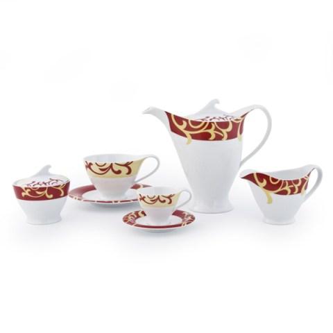 Servizio the caffè in fine porcellana con Decoro moderno colore bordò Bahia