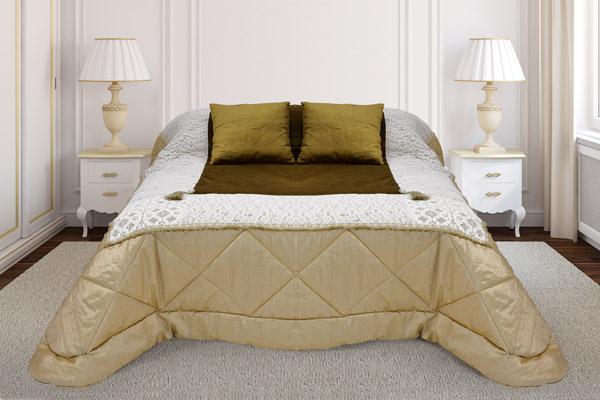 trapunta tessuto raso fiammato piano letto velluto rifiniture pizzo inglese cluny valencienne
