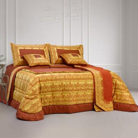 Coordinato letto in raso ruggine trapunta, copriletto e coppia lenzuola Marabò