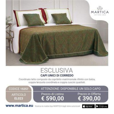 Offerta composè letto con disegno cashmere verde