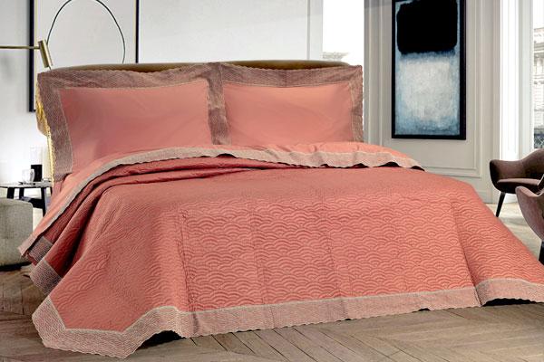 Composè letto rosa antico ricamato argento balzato - Chic
