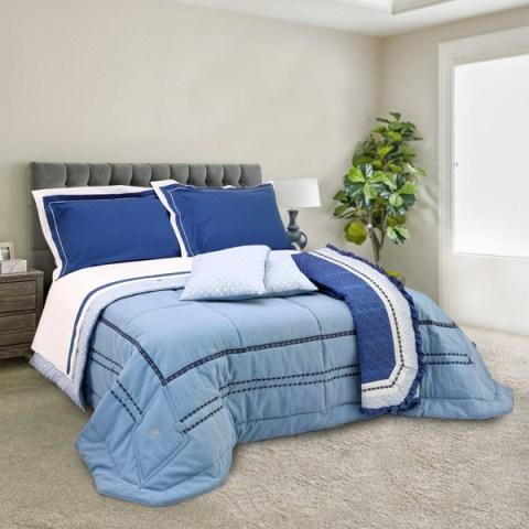 Coordinato letto Trapunta Blue Jeans con strass, copriletto trapuntato e coppia lenzuola