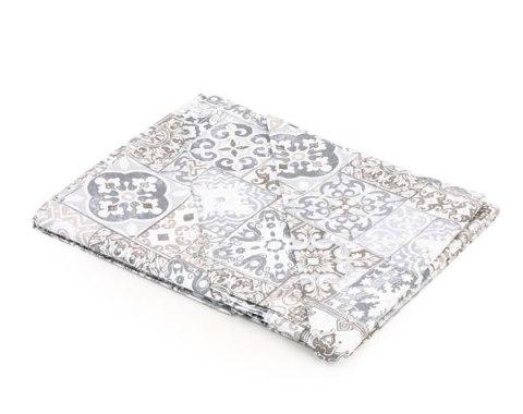 Coppia lenzuola matrimoniale disegno retrò maiolica tortora in puro cotone - Granada